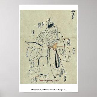 Warrior or nobleman archer Ukiyo-e. Print