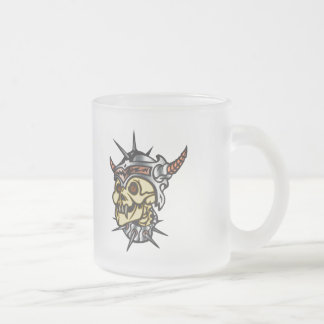 Warrior Skull 10 Oz Frosted Glass Coffee Mug