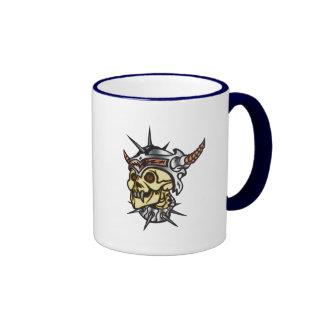 Warrior Skull Ringer Coffee Mug