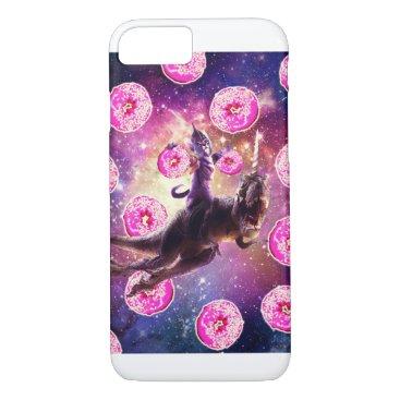 Warrior Space Cat On Dinosaur Unicorn - Donut iPhone 8/7 Case