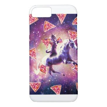 Warrior Space Cat On Unicorn - Pizza iPhone 8/7 Case