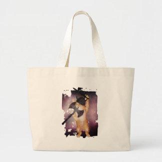 Warrior Viking Cat Kitten Funny Large Tote Bag