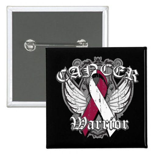 Warrior Vintage Wings - Head Neck Cancer 2 Inch Square Button