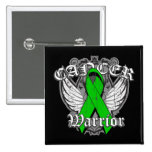 Warrior Vintage Wings - Kidney Cancer Ribbon 2 Inch Square Button