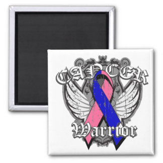 Warrior Vintage Wings - Male Breast Cancer 2 Inch Square Magnet