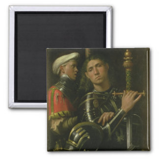 Warrior with Groom (oil) 2 Inch Square Magnet