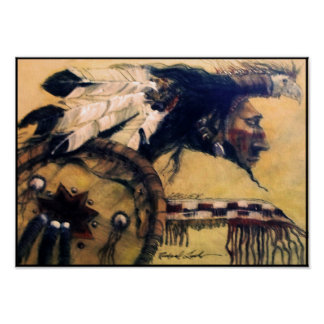 Warrior with Headdress and Shield Canvas Print