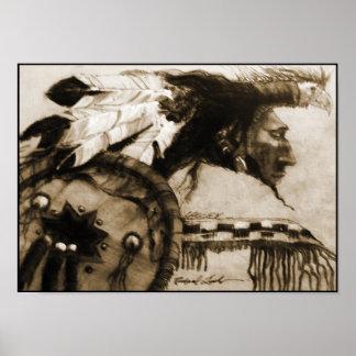 Warrior with Headdress & Shield Sepia Canvas Print