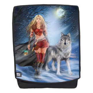 Warrior Woman and Wolf Boldface Backpack