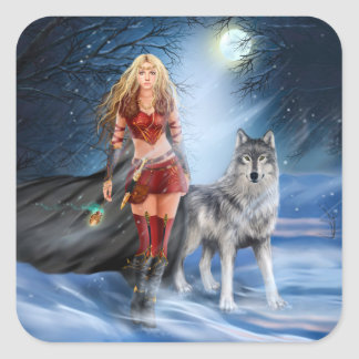 Warrior Woman and Wolf Stickers