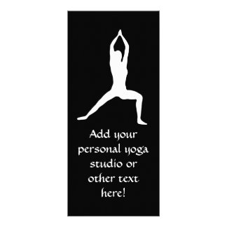 Warrior Yoga Pose Silhouette Black and White Personalized Rack Card