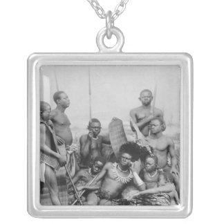 Warriors, Belgian Congo, 1894 Square Pendant Necklace