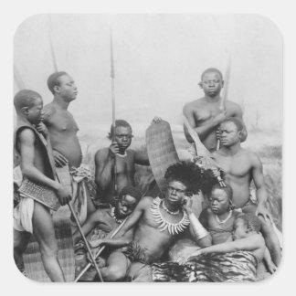 Warriors, Belgian Congo, 1894 Square Sticker