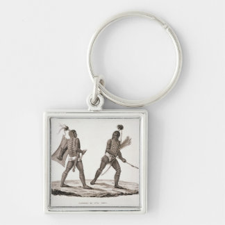 Warriors from the Island of Ombai, from 'Voyage Au Silver-Colored Square Keychain