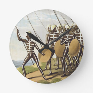 Warriors of New South Wales, engraved by Matthew D Round Wallclocks