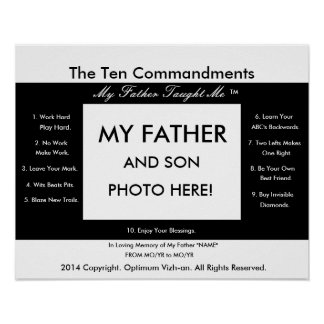 WarriorsCreed Ten Commandments My Father Taught Me Poster