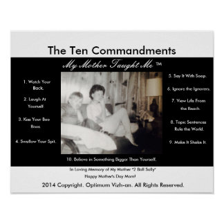 WarriorsCreed Ten Commandments My Mother Taught Me Poster