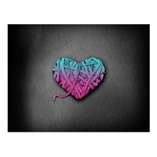 Warrpaed Pink and Blue Heart Postcard