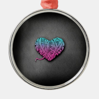 Warrpaed Pink and Blue Heart Round Metal Christmas Ornament