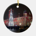 Warsaw Christmas lights Double-Sided Ceramic Round Christmas Ornament