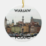WARSAW POLAND OLD TOWN Double-Sided CERAMIC ROUND CHRISTMAS ORNAMENT