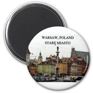 WARSAW POLAND STARE MIASTO OLD TOWN 2 INCH ROUND MAGNET