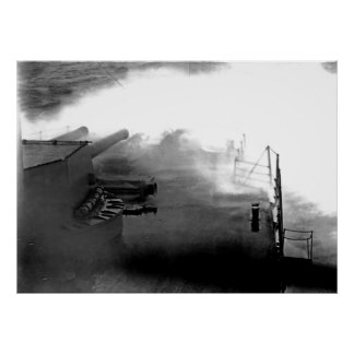 Warship in Storm Poster