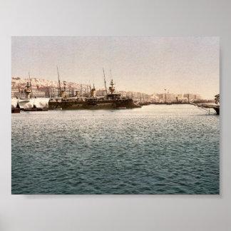 Warships, Algiers, Algeria classic Photochrom Print