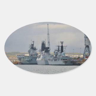 Warships In Portsmouth Oval Sticker