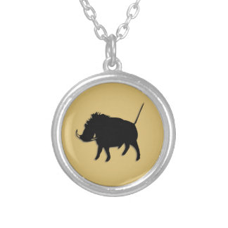 Wart Hog Round Pendant Necklace