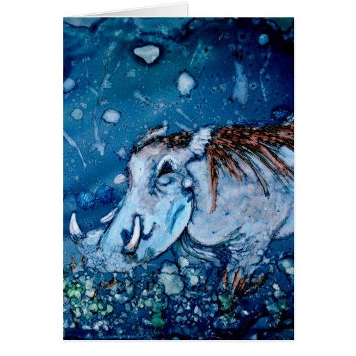 Warthog azul felicitación