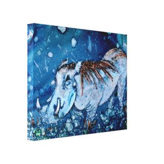 Warthog azul impresiones en lienzo estiradas