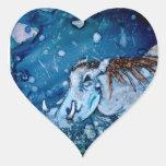Warthog azul pegatina en forma de corazón