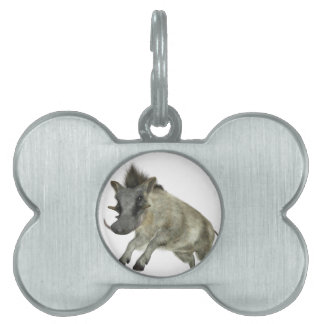 Warthog Jumping to Right Pet ID Tag