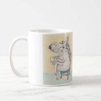 warthog sitting on stool with embroidery coffee mug