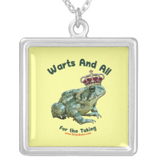 Warts and All Frog Toad Prince Square Pendant Necklace