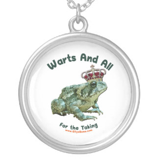 Warts and All Frog Toad Prince Silver Plated Necklace