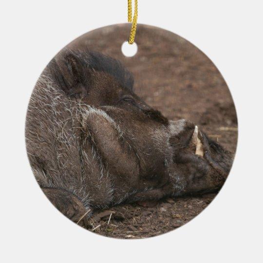 Warty Hog Ceramic Ornament