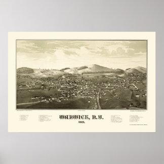 Warwick, NY Panoramic Map - 1887 Poster