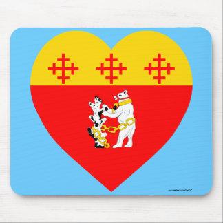 Warwickshire Flag Heart Mousepad