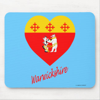 Warwickshire Flag Heart with Name Mouse Pad