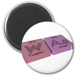 Was  as W Tungsten and At Astatine 2 Inch Round Magnet