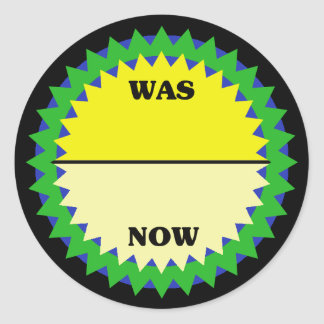 WAS/NOW Retail Sale Sticker