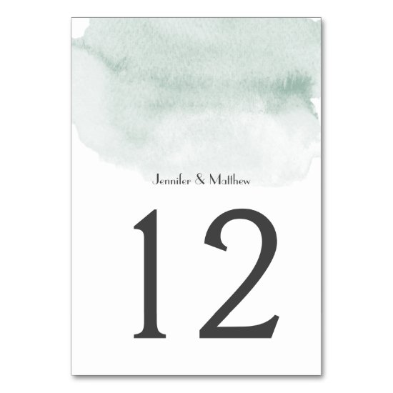Wasabi Green Watercolor Wash | Table Number