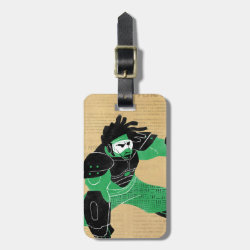 Small Luggage Tag with leather strap with Hero Wasabi's Plasma Blades design