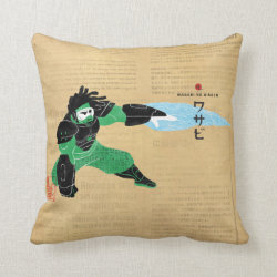 Cotton Throw Pillow with Hero Wasabi's Plasma Blades design