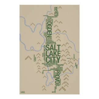 Wasatch Front (Utah) typographic map Poster