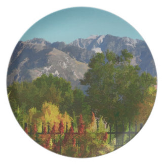 Wasatch Mountains In Autumn Painting Melamine Plate
