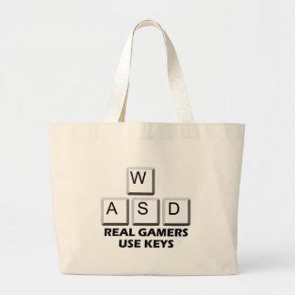 WASD - Llaves reales del uso de los videojugadores Bolsa Tela Grande