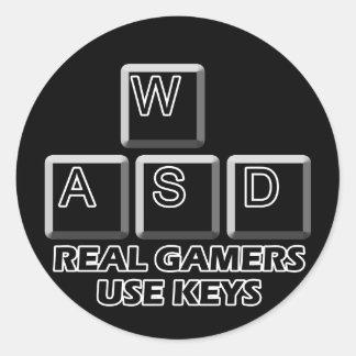 WASD - Llaves reales del uso de los videojugadores Pegatina Redonda